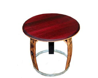 Wine Barrel Side Table/ Side table/ Patio Table/ Outdoor Table/ End Table/ Barrel Art