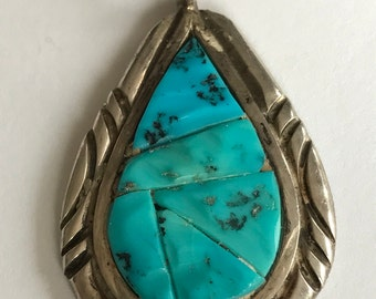 Navajo Turquoise Sterling Pendant 925 Silver Enhancer Slide Southwestern Native Vintage Jewelry Christmas Holiday Gift Tribal