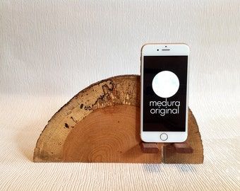 iPhone  # 69  ..Live Edge Spalted Oak iPhone Dock ( Samsung also )
