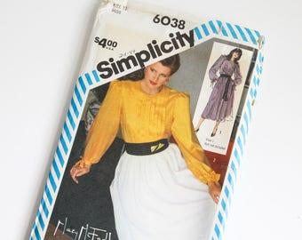 SIZE 12 6038 Simplicity Women's 2 Piece Dress Blouse Shirt Skirt UNCUT Sewing Pattern Vintage 1980s Eighties Misses Tucks Full Skirt Ties