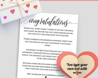 Printable Congratulations letter, Congratulations card, wedding template, Instant download editable PDF CL101