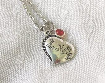 LoVe Necklace/ Birthstone Heart Necklace/ Heart Charm Birthstone  Necklace/ Personalized Necklace/ Love Pop Art Necklace