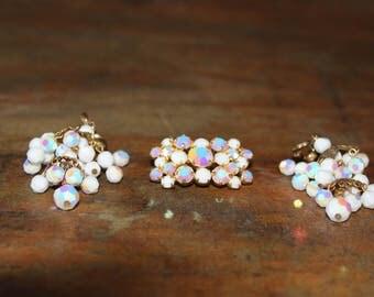 White 3 Piece Pin/ClipOn Earring Set