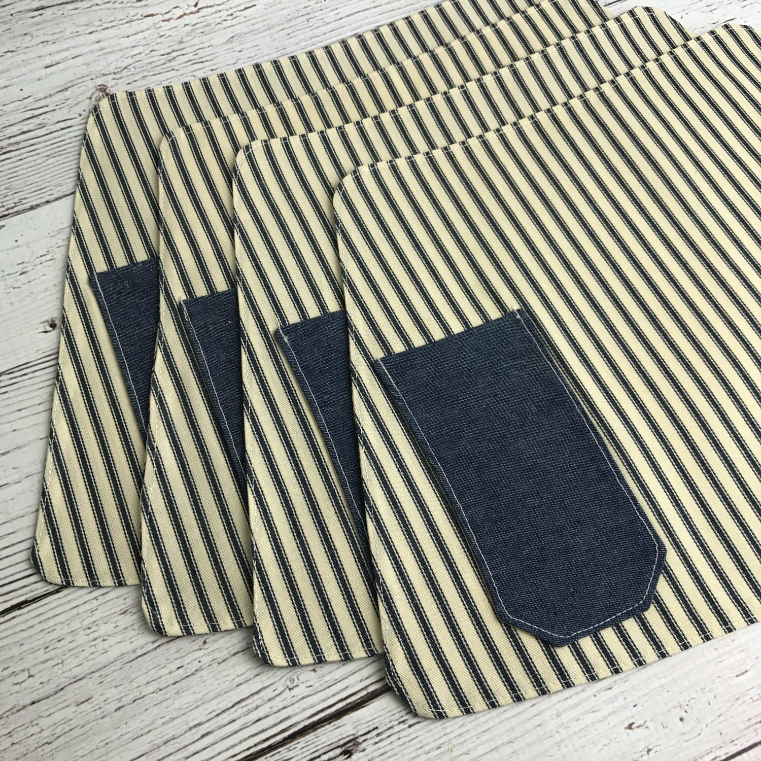 Placemats cotton ticking placemats round table placemats for Small square placemats