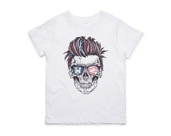 Fifty5 Clothing Patriotic Rocker Skull Kids Tee
