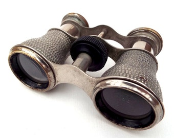 Old Pocket Binoculars, Metal Opera Glasses,  Galilean Steampunk,  Optical Decor, Small Field-Glasses stamped Foreign