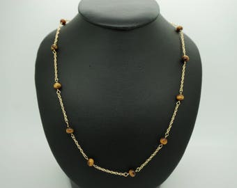 "Vintage 14K Yellow Gold 5mm Brown Tigers Eye Beaded Gemstone Necklace- 16""; sku # 3500"