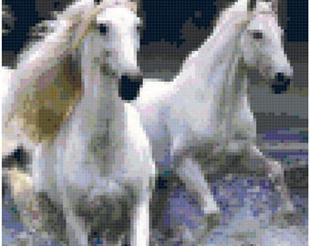 Cross Stitch White Horses Running Pattern Design Chart Equine Domestic Animal Home Decor PDF Digital File Instant Download