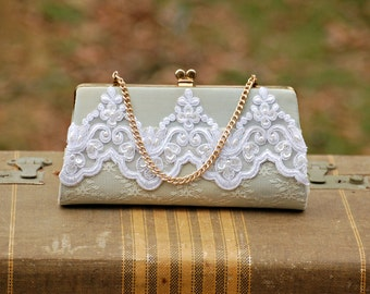 Vintage Lace Purse, Pale Blue, Upcycled