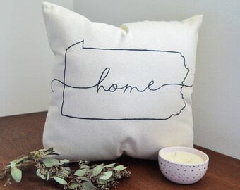Custom Pillow - Home State | Personalized Pillow | Home Decor | Custom Gift | Wedding Gift | Living Space Decor | Accent Throw Pillow