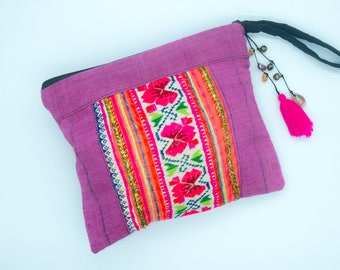 Handmade Hmong Tribe Clutch with Dyed Coloured Hemp Fabric