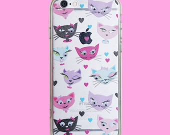 Girly Cute Cat lovers Cats and hearts with Googly eyes Clear Case For iPhone 6/6S