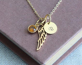 Wing Necklace, Angel Wing Necklace, Angel Necklace, Memory Necklace, Gold Necklace, Personalized Necklace, Birthstone Necklace, Gift for Her
