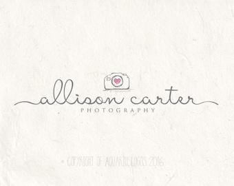 Photography logo - premade logo watermark logo camera logo design template. Digital download DIY logo psd logo sketched camera