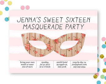 c Invite - Adult Birthday Invite - Masquerade Ball - Vintage Invite - Sweet Sixteen Invite - Girl Birthday Invite -PRINTABLE INVITE