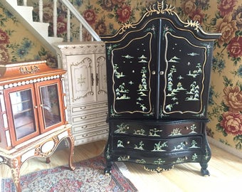 Excellent 1:12 Cabinet Chinese Painting With Mini Staircase Inside And 3  Drawers