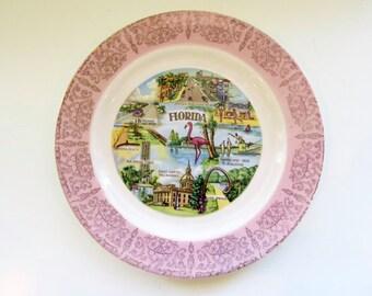 florida souvenir, florida plate, daytona beach, silver springs FL, pink flamingo, souvenir plate, state plate, pink white green
