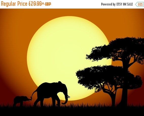Sale 20 off african elephants sunset wall mural by for African sunset wall mural