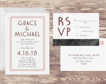 The Coronado Wedding Invitation and Postcard RSVP Set, Formal Wedding Invitations, Elegant Wedding Invitations, Spring Wedding Invitations