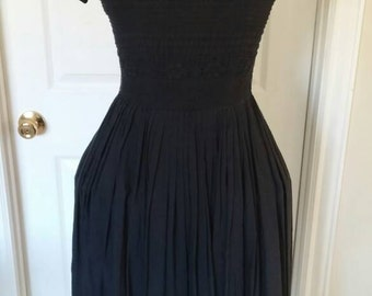 50s Dress / 1950s Navy Dress with Boat Neck