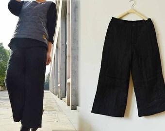 535---Women's Linen Wide Leg Padding pants, Black Winter Wide - legged Trousers, Made to Measure.