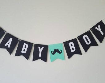 LITTLE MAN mustache baby shower banner black white green teal