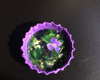 Bottle Cap Magnet - Purple Flower
