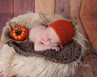 Pumpkin hat, Pumpkin beanie, Newborn fall hat, Newborn prop, Newborn photo props, Baby hat, Infant prop, Photography prop, Fall prop