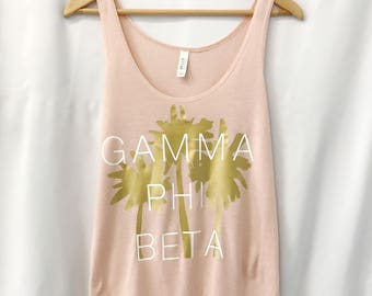 Gamma Phi Beta Palm Tree Tank, Sorority Tank Tops, Side Slit Tank in Peach