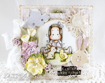 OOAK Handmade Magnolia Card -Easter Greetings
