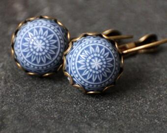 Blue mosaic earrings, 12 mm bronze earrings