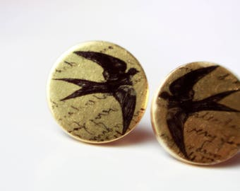 12 mm ear studs, bird
