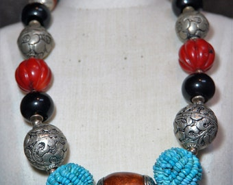 Vintage Tibetan Turquoise and Coral necklace.