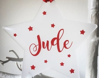 Personalised Christmas Ornament Decoration Star Keepsake • Christmas Tree • Perspex/Acrylic • Frosted