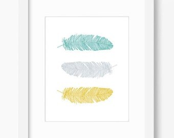 feather art, feather print, feather wall decor, feather wall art, teal and gold decor, printable art, office decor, feather artwork download