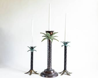 Trio Palm Tree Candle Holders Metal Cast Iron Hollywood Palm Trees Beach Decor Party Metal Palm Trees Patio Deck Candle Holders