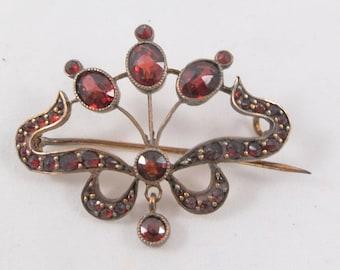 Antique Victorian Garnet Pin Brooch with Dangle Open Design