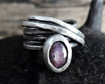 SALE 20% off!! - use coupon code: SALE20 Ruby ring, silver ring, ruby, silver, statement, boho, wrap ring, spiral ring
