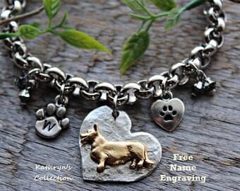 Corgi Bracelet, Cardigan Corgi, Pembroke Corgi, Corgi Lover, Corgi Gift, Free Name Engraving, Read all listing details