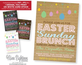 Easter Sunday Brunch INVITATION. Personalized Printable PDF/JPG. I design, you print.