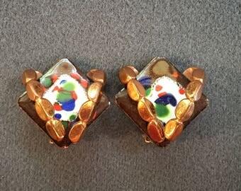 Vintage Matisse Renoir Enameled Copper Clip Earrings.  Free shipping