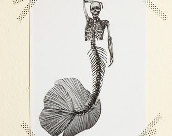Mermaid Skeleton Sketch Print