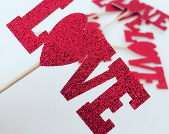 LOVE Cupcake toppers, Valentines day cupcake toppers (12 toppers)