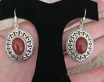 Red Carnelian 925 Stetling Silver Earrings