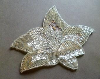 french  application rhinestones and sequins vintage aplicación de pedreria y lentejuelas plata