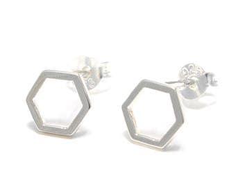 Hexagon Silver earrings 925 sterling silver