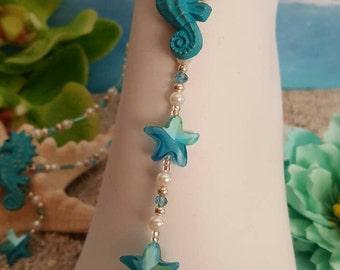 Resin seahorse pendant, Barefoot, Sandals, wedding,beach, bridal,