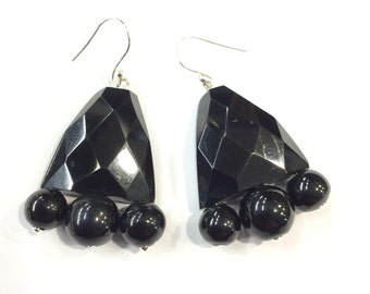 Real whitby jet drop earrings