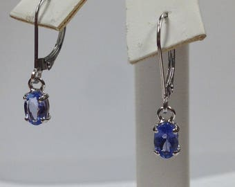 Natural Tanzanite Dangle Earrings Solid 14kt White Gold