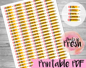 Planner Stickers, School Events, School Planner Stickers, Printable Planner Stickers, School Reminders, Fun School Stickers, Erin Condren
